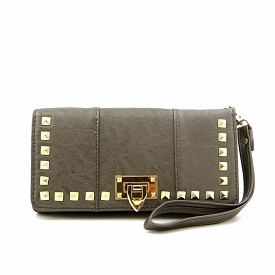 W749P87 Studded Long Trifold Wristlet Wallet Pewter