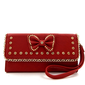 W761 Bow Accent Rhinestone Wristlet Wallet Red