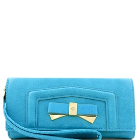 W809 Bow Accent Multi Compartment Wristlet Wallet with Shoulder Strap Blue