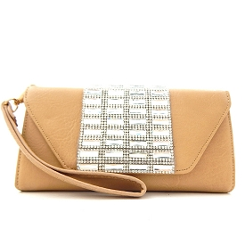 W849 Rhinestone Wristlet Wallet with Shoulder Strap Taupe (Beige)
