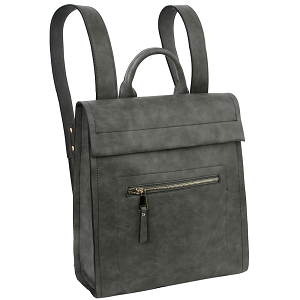 ALM0032 Roll-Up Effect Flap Fashion Backpack Gray