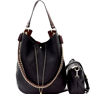 B0168 Chain Accent 2 in 1 Expendable Hobo Black