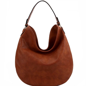 BAD0005 Perforated Single Strap Round Hobo L.Brown