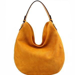 BAD0005 Perforated Single Strap Round Hobo Mustard