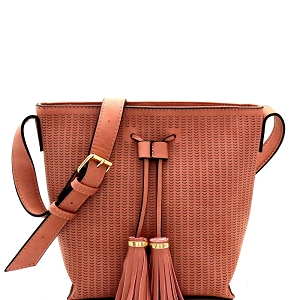 BAL0014 Tassel Accent Laser-Cut Bucket Shoulder Bag Blush