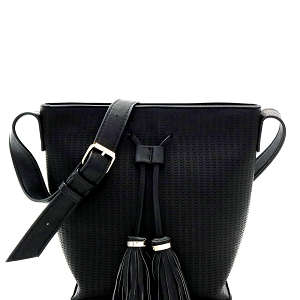 BAL0014 Tassel Accent Laser-Cut Bucket Shoulder Bag Black