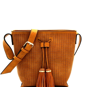 BAL0014 Tassel Accent Laser-Cut Bucket Shoulder Bag Mustard