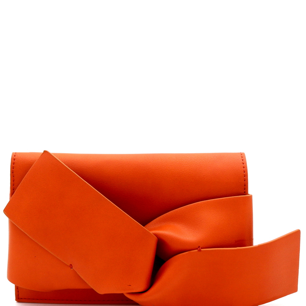 CL0132 Large Bow Accent Clutch Shoulder Bag Blood-Orange