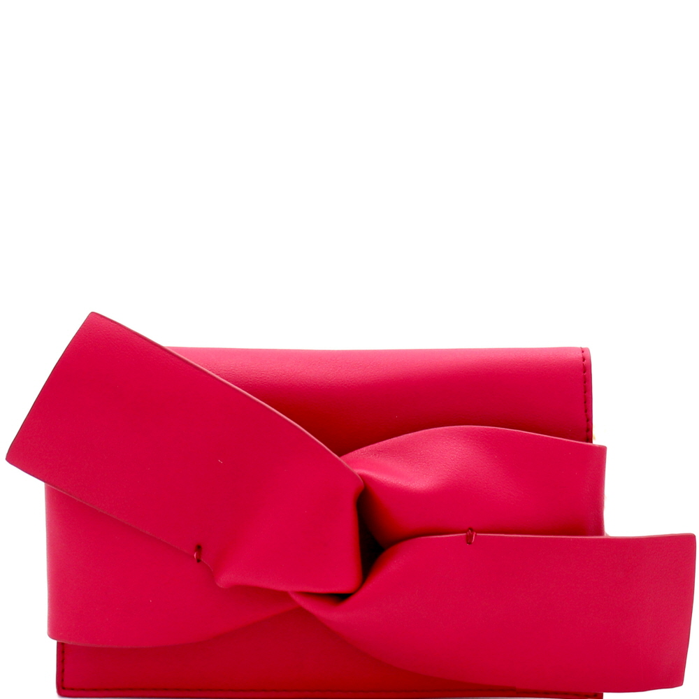 CL0132 Large Bow Accent Clutch Shoulder Bag Fuchsia