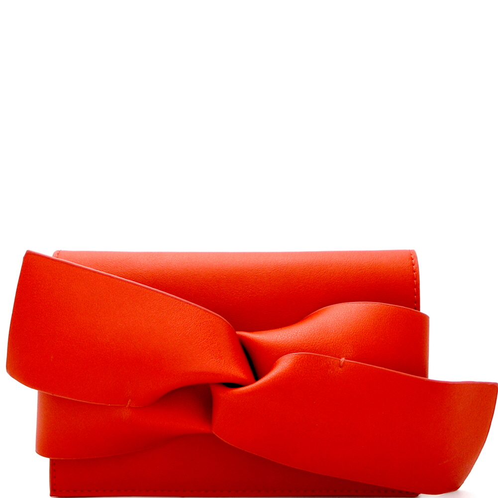 CL0132 Large Bow Accent Clutch Shoulder Bag Red