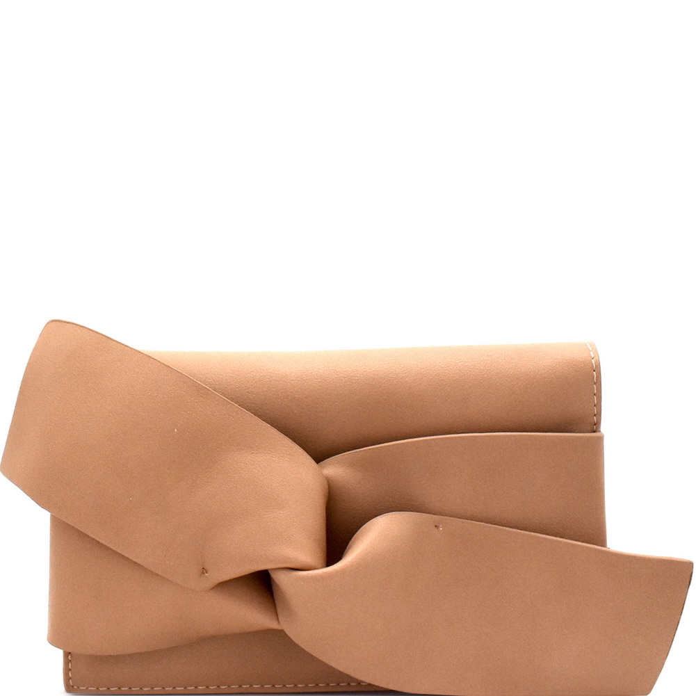 CL0132 Large Bow Accent Clutch Shoulder Bag Brown