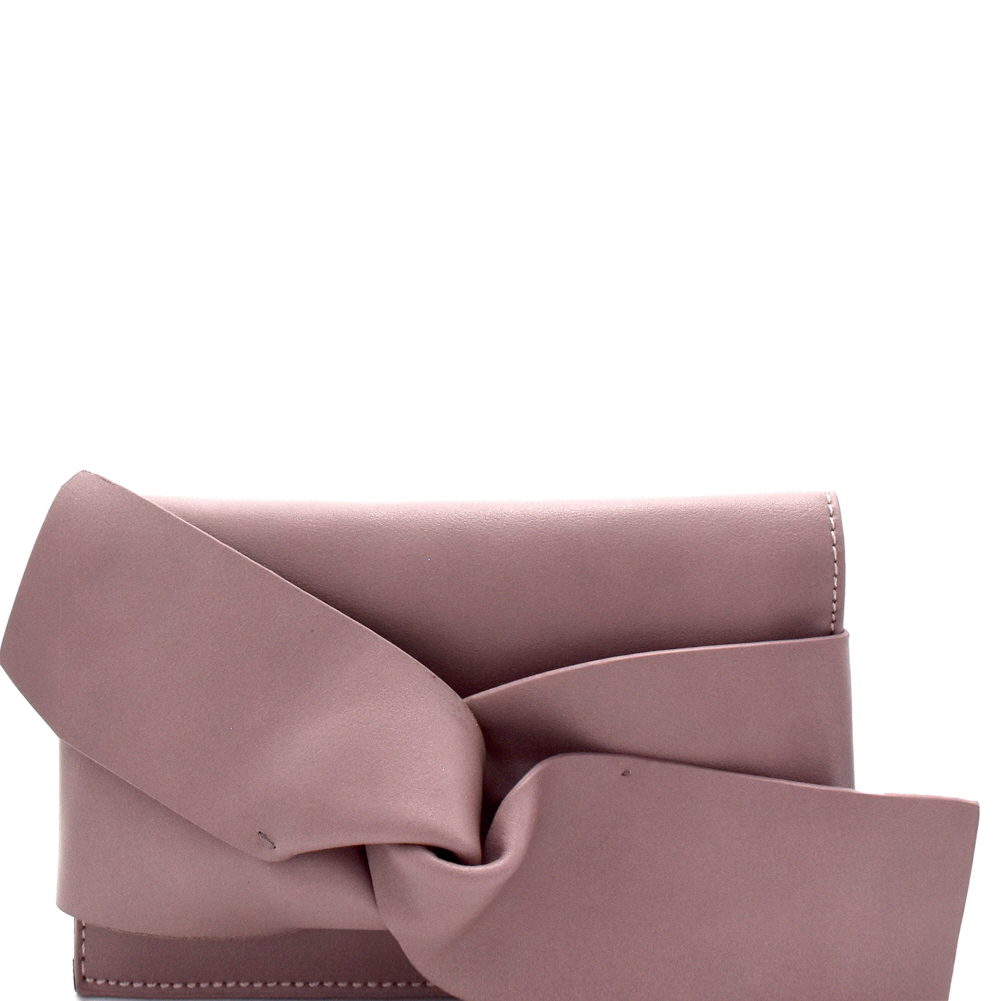 CL0132 Large Bow Accent Clutch Shoulder Bag Mauve