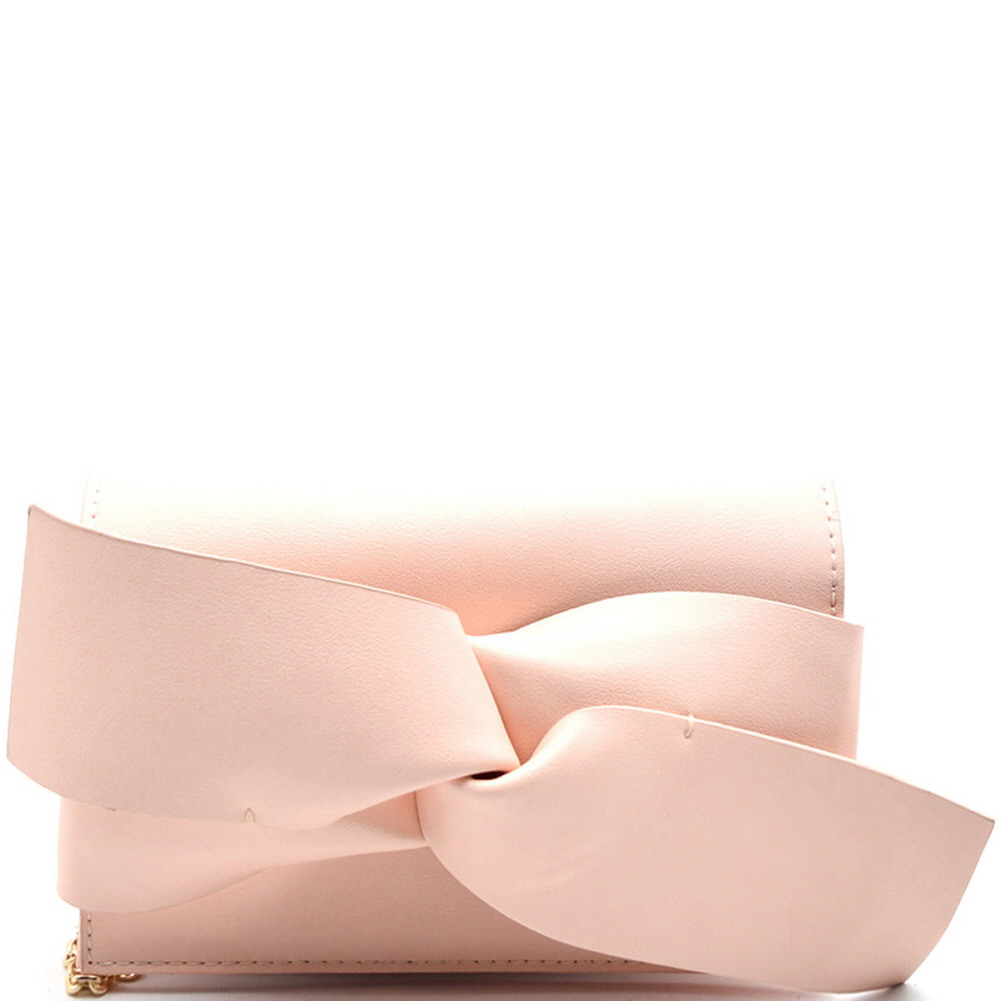 CL0132 Large Bow Accent Clutch Shoulder Bag Blush