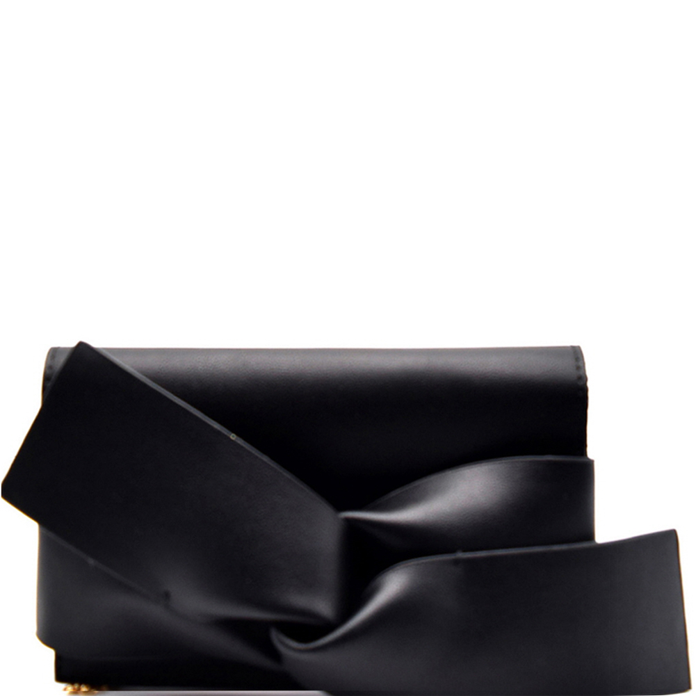 CL0132 Large Bow Accent Clutch Shoulder Bag Black