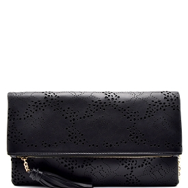 CL0134 Flower Laser-Cut Fold-Over Flap Clutch Black