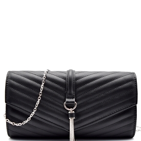 CL0139 Tassel Accent Chevron Quilted Clutch Crossbody Black