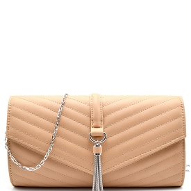 CL0139 Tassel Accent Chevron Quilted Clutch Crossbody Nude