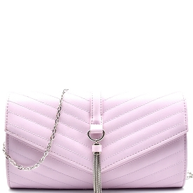 CL0139 Tassel Accent Chevron Quilted Clutch Crossbody Lavender