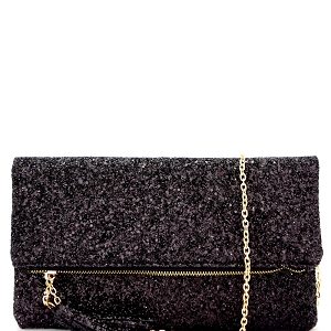 CL0145 Tassel Accent Multi-Color Glitter Fold-Over Clutch Black