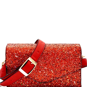 CL0157 Multi-colored Glitter 2 Way Fanny Pack Cross Body Red