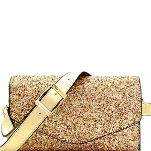 CL0157 Multi-colored Glitter 2 Way Fanny Pack Cross Body Gold