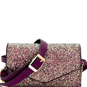 CL0157 Multi-colored Glitter 2 Way Fanny Pack Cross Body Multi