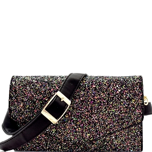 CL0157 Multi-colored Glitter 2 Way Fanny Pack Cross Body Black