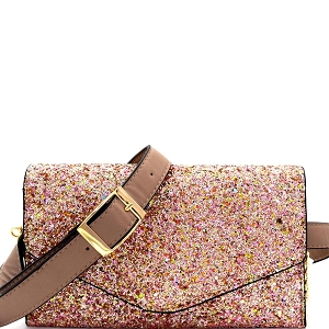 CL0157 Multi-colored Glitter 2 Way Fanny Pack Cross Body Taupe