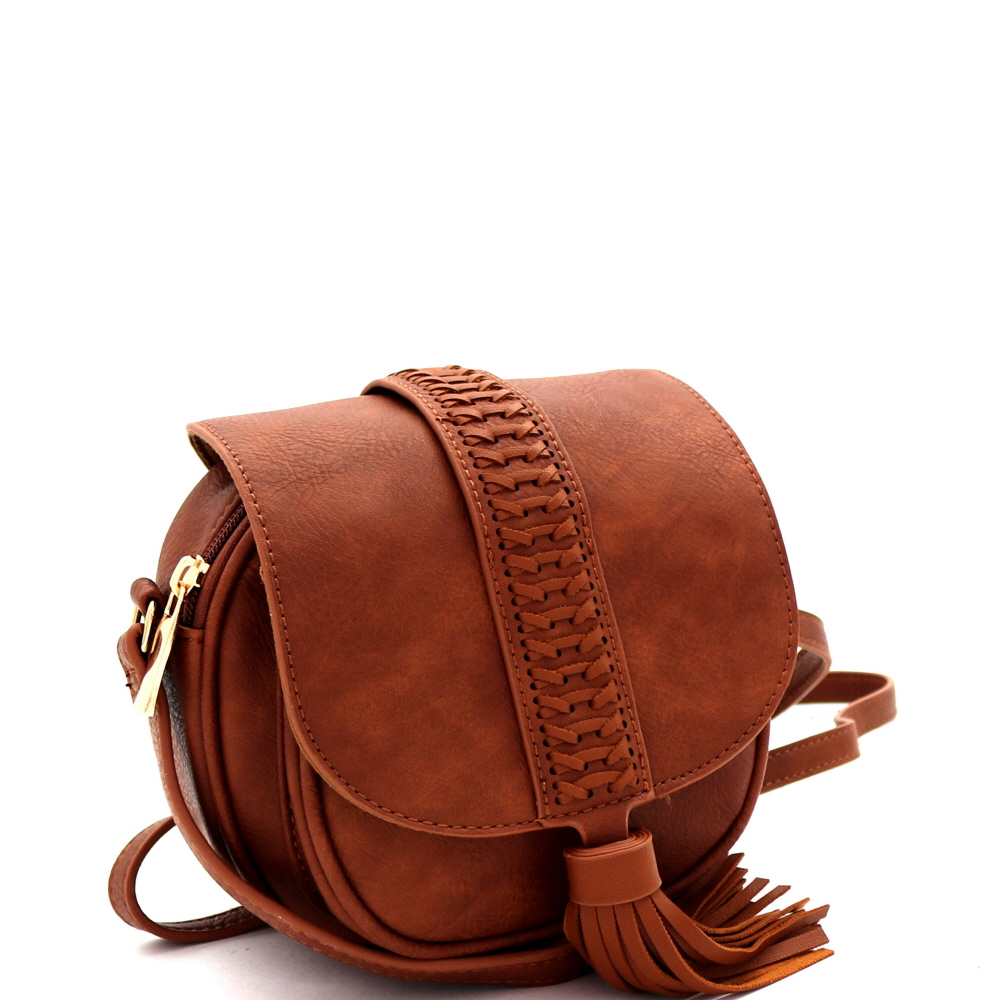 CL0163 Tassel Accent Braided Flap Bohemian Round Cross Body Brown