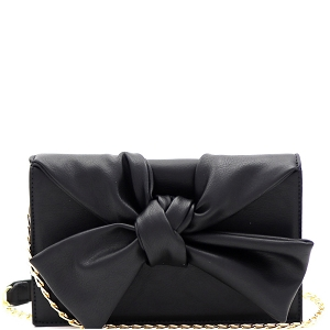 CL0170 Knotted Bow Accent 3-Compartment Clutch Shoulder Bag Black