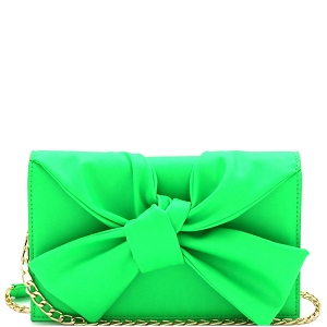 CL0170 Knotted Bow Accent 3-Compartment Clutch Shoulder Bag Neon-Green