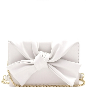 CL0170 Knotted Bow Accent 3-Compartment Clutch Shoulder Bag White