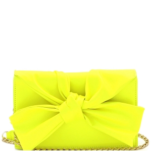CL0170 Knotted Bow Accent 3-Compartment Clutch Shoulder Bag Neon-Yellow