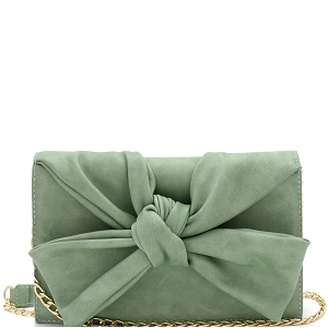 CL0170 Knotted Bow Accent 3-Compartment Clutch Shoulder Bag Mint