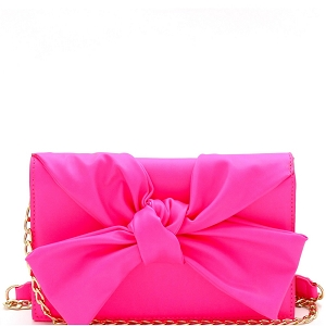 CL0170 Knotted Bow Accent 3-Compartment Clutch Shoulder Bag Neon-Fuchsia