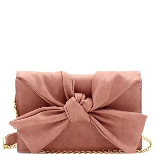 CL0170 Knotted Bow Accent 3-Compartment Clutch Shoulder Bag Blush