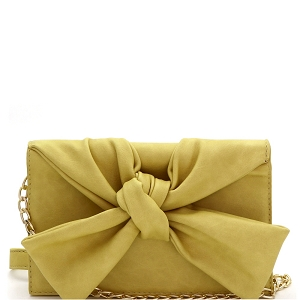 CL0170 Knotted Bow Accent 3-Compartment Clutch Shoulder Bag Yellow