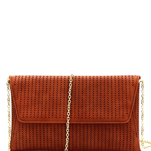 CTCL0017 Perforated Laser-Cut Flap Clutch Shoulder Bag Brown