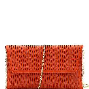CTCL0017 Perforated Laser-Cut Flap Clutch Shoulder Bag Rust