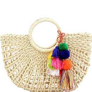 CTES0006 Thread Tassel Accent Knitted Straw Carry Satchel Basket Bag Beige