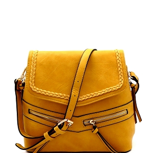 CTF0012 Braid Accent Convertible Backpack Shoulder Bag Mustard