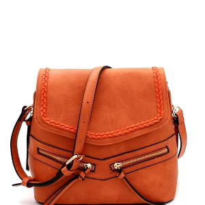 CTF0012 Braid Accent Convertible Backpack Shoulder Bag Rust