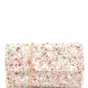CTHU0007 Multi Color Stone Glittery Fold-Over Clutch Multi-2