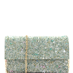 CTHU0007 Multi Color Stone Glittery Fold-Over Clutch Multi-4