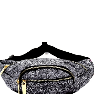 CTJY0007 Multi-colored Glitter 2 Way Fanny Pack Cross Body Dark-Silver