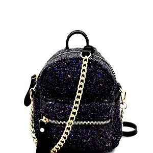 CTJY0009 Allover Glitter 2-Way Fanny Pack Cross Body Black