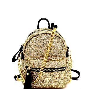 CTJY0009 Allover Glitter 2-Way Fanny Pack Cross Body Gold
