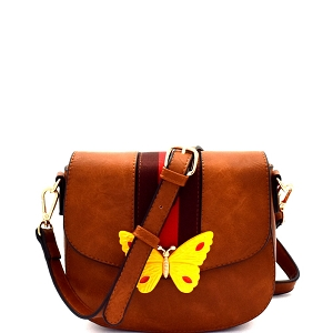 CTJY0031 Butterfly Charm Color Block Striped Saddle Cross Body Brown