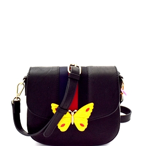 CTJY0031 Butterfly Charm Color Block Striped Saddle Cross Body Black