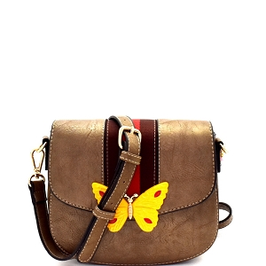 CTJY0031 Butterfly Charm Color Block Striped Saddle Cross Body Gold
